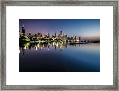 Peaceful Summer Dawn Scene On Chicago's Lakefront Framed Print