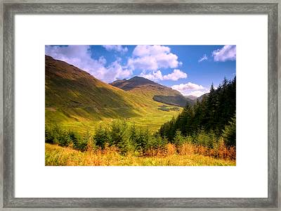 Peaceful Sunny Day In Mountains. Rest And Be Thankful. Scotland Framed Print