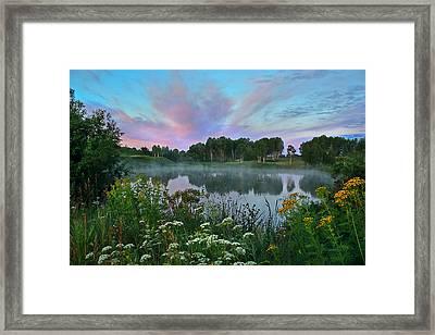 Peaceful Sunrise At Lake. Altai Framed Print