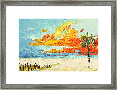 Peaceful Sunset At The Beach - Modern Impressionist Knife Palette Oil Painting Framed Print by Patricia Awapara