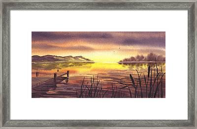 Peaceful Sunset At The Lake Framed Print by Irina Sztukowski