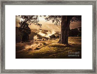 Peaceful Vintage Landscape Of A Rural Meadow Framed Print