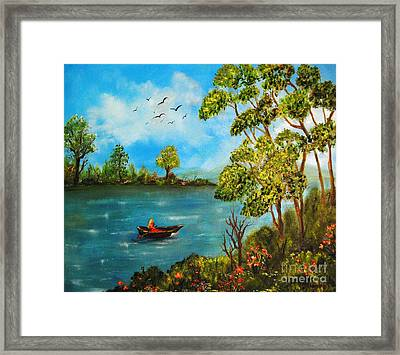 Peacful Boating Framed Print by Tina Haeger