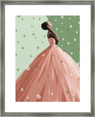 Peach And Mint Green Fashion Art Framed Print by Beverly Brown