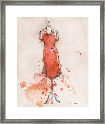 Peach And Orange Dress Framed Print by Lauren Maurer
