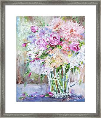 Framed Print featuring the painting Peach And Pink Bouquet by Jennifer Beaudet