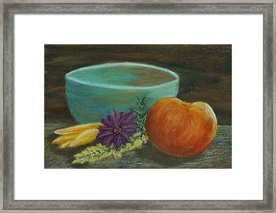 Peach And Pottery Framed Print