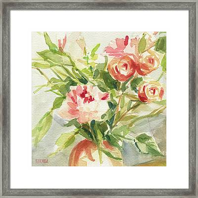 Peach And Yellow Carnations And Roses Framed Print