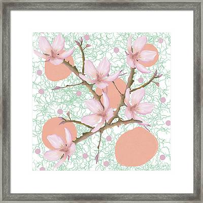Peach Blossom Pattern Framed Print