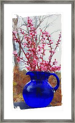 Peach Blossoms And Blue Pitcher El Valle Framed Print by Anastasia Savage Ealy