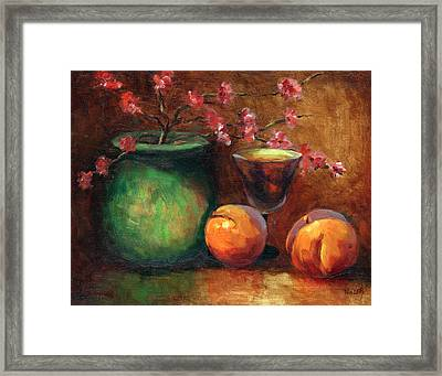Peach Blossoms Framed Print by Linda Hiller