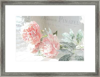Peach Peonies Impressionistic Peony Floral Prints - French Impressionistic Peach Peony Prints Framed Print