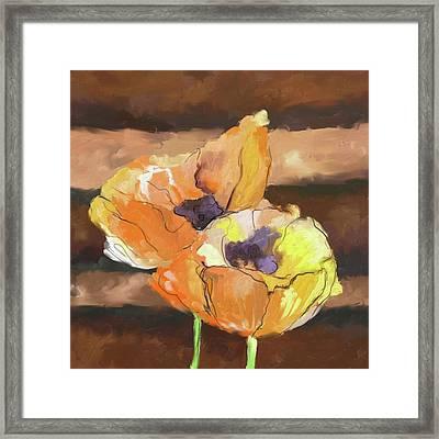 Peach Poppies 402 I Framed Print by Mawra Tahreem