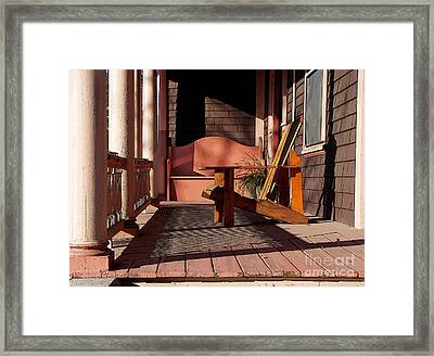Peach Porch Framed Print by Betsy Zimmerli