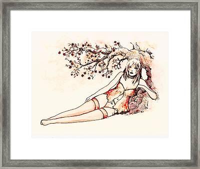 Peach Framed Print by Rachel Christine Nowicki