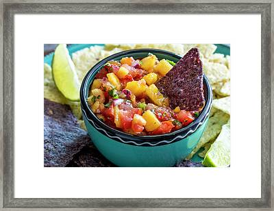 Peach Salsa And Chips Framed Print by Teri Virbickis