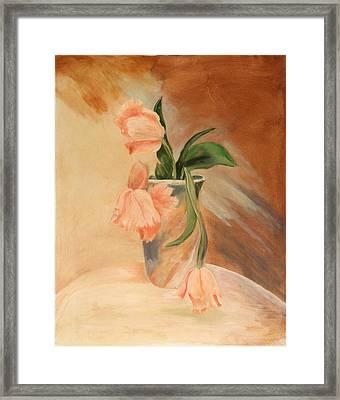 Peach Tulips Framed Print by Betty Stevens