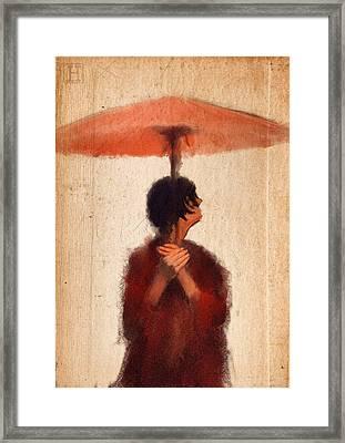 Peach Umbrella Framed Print by H James Hoff