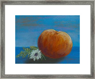 Peach With Summer Flowers Framed Print by Cheryl Albert