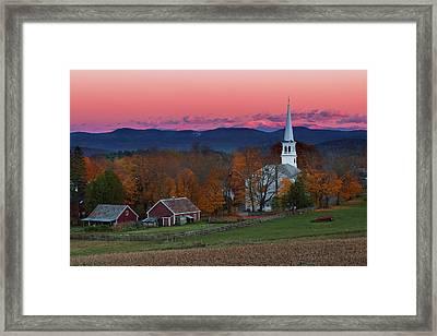 Peacham Village Fall Evening Framed Print