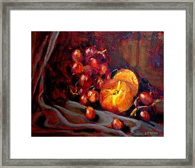 Peaches And Grapes Framed Print by Brian Simons
