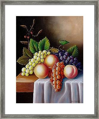 Framed Print featuring the painting Peaches And Grapes by Gene Gregory