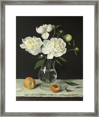 Peaches And Peonies On A Ledge Framed Print