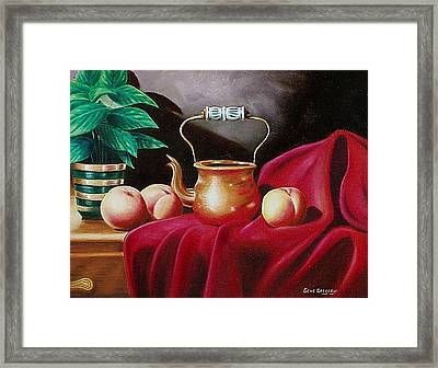 Framed Print featuring the painting Peaches And Pot by Gene Gregory
