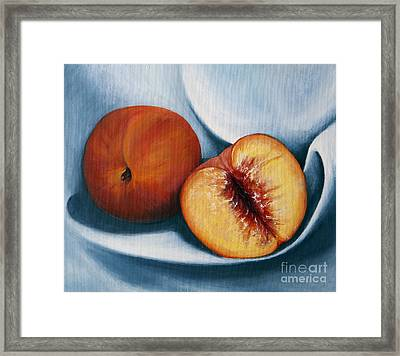 Peaches Framed Print by Dinny Madill