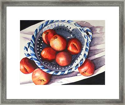 Peaches In Blue Framed Print by Marsha Chandler