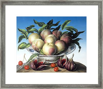 Peaches In Delft Bowl With Purple Figs Framed Print by Amelia Kleiser