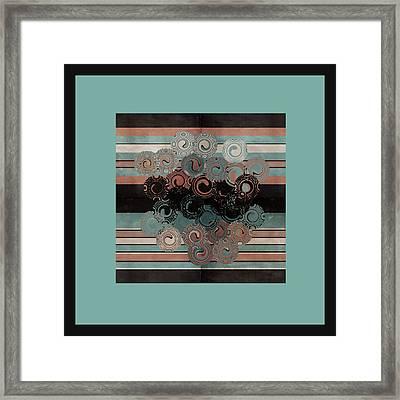 Peachy Aqua Swirls Framed Print