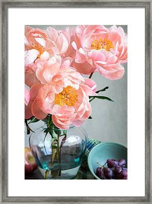 Peachy Peonies Framed Print