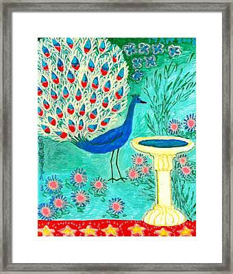 Peacock And Birdbath Framed Print by Sushila Burgess