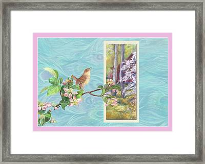 Peacock And Cherry Blossom With Wren Framed Print