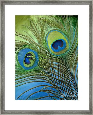 Peacock Candy Blue And Green Framed Print