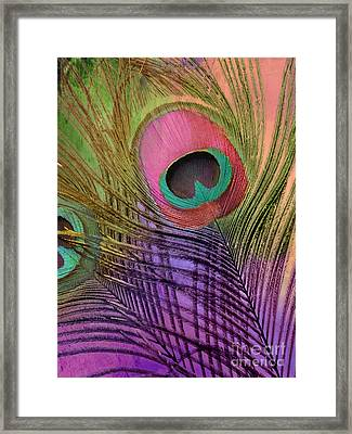 Peacock Candy Pink Green Coral Framed Print