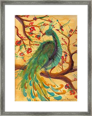 Framed Print featuring the painting Peacock C'hi by Angelique Bowman
