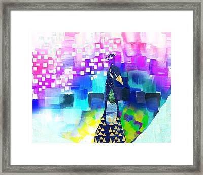 Peacock Collage Framed Print by Claudia Schoen