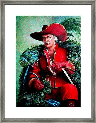 Framed Print featuring the painting Peacock Feathers Connery by Loxi Sibley