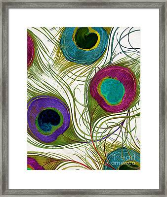 Peacock Feathers Framed Print by Mindy Sommers