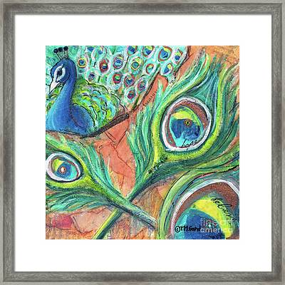 Framed Print featuring the painting Peacock Feathers by TM Gand