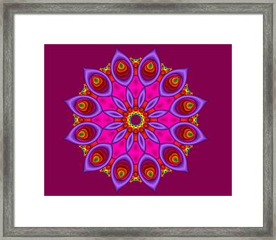 Peacock Fractal Flower II Framed Print