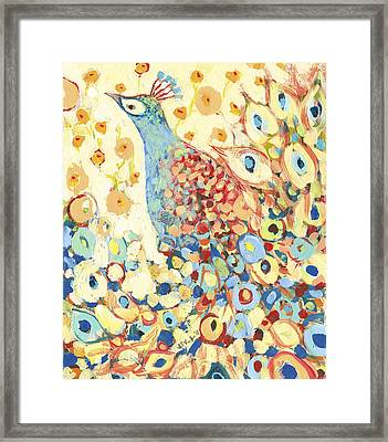 Peacock Hiding In My Poppy Garden Framed Print by Jennifer Lommers