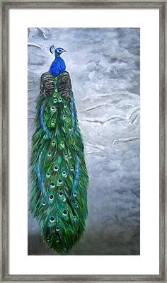 Peacock In Winter Framed Print
