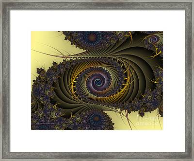 Framed Print featuring the digital art Peacock by Karin Kuhlmann