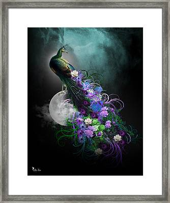 Peacock Of  Flowers Framed Print