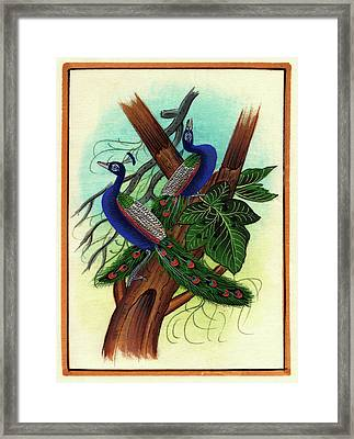 Peacock Painting Tree Forest Miniature Painting Artist Nature Paper Artwork India. Framed Print by M B Sharma