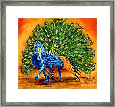 Peacock Pegasus Framed Print by Melissa A Benson