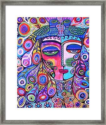 Peacock Pink Butterfly Goddess Framed Print by Sandra Silberzweig